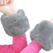Paradise Kiss Womens Winter Faux Fur Short Wrist Arm Warmer Cuff Slap on Wristband Furry Bracelet Glove
