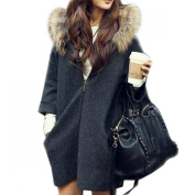 Paradise Kiss New Womens Oversized Loose Knit Cardigan Faux Fur Hooded Coat Zip Jacket Parkas