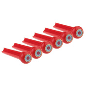Kmise Z4780H6 6 x Acoustic Guitar Bridge Pin with Red Dot & Brass Circle Skirt Plastics Slotted