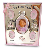 Baby Essentials First Year Frame Silver and Pink