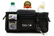 The #1 Stroller Organiser Bag & Nappy Bag - Bubzi Co - Adjustable Stroller Caddy Fits Most Jogging & Single Width Strollers, High Quality Nylon Canvas Stroller Bag Holds Keys, Bottles, Drinks, Nappies, Phone, Wipes & More - Perfect Back Seat Organiser ..