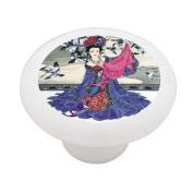 Asian Silk Decorative High Gloss Ceramic Drawer Knob