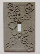Gears (Steampunk) Stone/Copper/Patina Light Switch Cover (Custom)