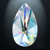 Asfour Crystal 873 Pear-Shape Clear Crystal Prism, 10cm , 1 Hole , Box of 14 Pieces