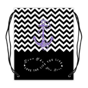 Colorblock Chevron Zigzag Infinity Anchor Basketball Drawstring Bags Backpack, Sports Equipment Bag - Infinity Live the Life You Love, Love the Life You Live - 42cm (W) x 49cm (H), Twin-sided Print