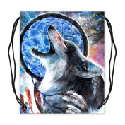 Cool Animal Wolf Wolves Basketball Drawstring Bags Backpack, Sports Equipment Bag - 42cm (W) x 49cm (H), Twin-sided Print