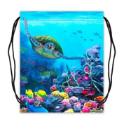 Sea Turtle Painting Basketball Drawstring Bags Backpack, Sports Equipment Bag - 42cm (W) x 49cm (H), Twin-sided Print