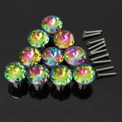 KINGSO 10pcs Colourful Crystal Glass Cupboard Wardrobe Cabinet Drawer Knob Door Pull Handle