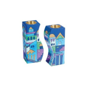 Yair Emanuel Fitted Shabbat Candlesticks with Jerusalem Depictions in Blue