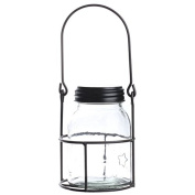 Primitive Clear Mason Jar with Embossed Stars and Black Lid in Rustic Wire Hanger