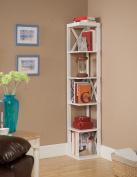 Kings Brand White Finish Wood Wall Corner 5 Tier Bookshelf Display Stand