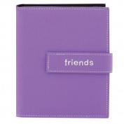 """Pioneer Photo Albums 36-Pocket 13cm by 18cm Embroidered """"Friends"""" Strap Sewn Leatherette Cover Photo Album, Mini, Lavender"""