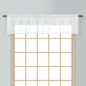 American Curtain and Home Semi-Sheer Window Treatment Valance, 140cm by 41cm , White