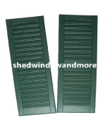 Louvred Shed or Playhouse Shutters Green 23cm X 70cm 1 Pair