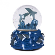 Swimming Jumping Dolphins Ocean Blue Glass Musical Glitter Water Globe - Plays Tune Ebb Tide