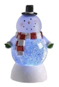 18cm LED Lighted Colour Changing Snowman Christmas Snow Globe Glitterdome