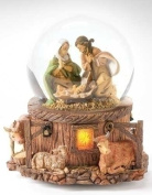 15cm Musical Lighted Holy Family Glitterdome