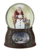 "Roman Christmas Musical Revolving Santa Claus and Snowman Snow Globe Glitterdome Plays ""Have Yourself A Merry Little Christmas"""