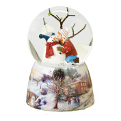 Musical 13cm Child Kissing Snowman Glitter Dome Water Globe - Plays 'Frosty the Snowman'