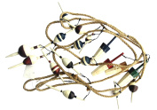 Fishing Bobber Garland 2.7m Long with 17 Wood Bobbers on Jute Rope