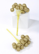 240 Gold Glitter Glitzy Mini Round Balls Picks for Holiday and Party Decorating