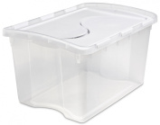Sterilite 19148006 45.4l Hinged Storage Box See-through Base with White Lid, 6-Pack