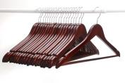 J.S. Hanger Multifunctional High Grade Solid Wooden Suit Hangers, Coat Hangers, Walnut Finish, 20-Pack