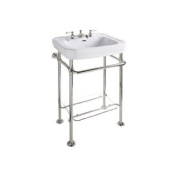 Rohl RW2231IB WASH STAND IN INCA BRASS 20 1/8^ WIDE WITH GLASS SHELF FOR USE WITH PERRIN & ROWE VICTORIAN U.2863WH VITREOUS CHINA BASIN LAVATORY SINK WITH THREE HOLES WASH STND IB