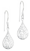 .925 Sterling Silver French Wire Filigree Tear Drop Dangle Earrings for Women, Hypoallergenic