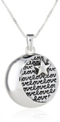 """Sterling Silver """"I Love You To The Moon and Back"""" Circle with Star Pendant Necklace, 46cm"""