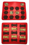 Win & Co Puppy Paws & Bones Silicone Baking Moulds-Pan-Ice Trays Set of 2