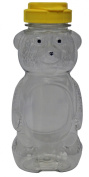 Mann Lake CN530 24-Pack Plastic Squeeze Bear with Yellow Flip Top, 350ml