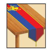 Beistle Printed Mediaeval Table Runner, 3.4m by 1.8m, Red/Blue/Yellow