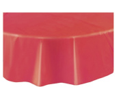Round Plastic Table Cover. RED