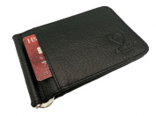 Designer J Wilson 5297 Genuine Mens Real Leather Thin Wallet Money Clip Credit Card Red Black and Brown