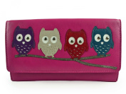 Ladies Large Flap Over LEATHER PURSE WALLET by MALA Kyoto Collection Cute OWLS