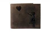 UNIQUE Banksy Balloon Girl Embossed Distressed Antique Brown Real Leather Wallet 'There is Always Hope'