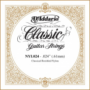 D'Addario NYL024 Rectified Nylon Classical Guitar Single String ,.024