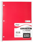 Mead Spiral Notebook, College Ruled, 1 Subject, 8.5 x 11, 100 Sheets, Assorted Colours