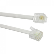Uxcell a12071100ux0136 6P4C RJ11 Male Connector Telephone Line Cord, 3 Metres for Landline Telephone, White
