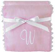 Princess Linens Garden Pique Burp Pad Set - Light Pink with White Rick Rack Trim-W