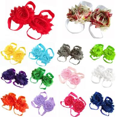 Share 10 Pcs Baby girl Foot Flower Barefoot Sandals Newborn Flower Feet Accessory Infant Footwear Toddler Chiffon Shoes