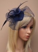 Allsorts® Navy Feather Net Clip Hat Fascinator Wedding Ladies Day Race Royal Ascot