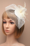 Allsorts® Cream Feather Net Clip Hat Fascinator Wedding Ladies Day Race Royal Ascot