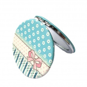 Lovely BowknotTravel Pocket Beauty Makeup Mirror Compact Mirror ,Blue