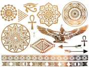 Gold Silver Metallic Temporary Tattoos, Flash Tattoo, Oriental body jewellery, Egyptian ornaments - YS-48
