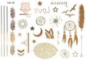 Gold Silver Metallic Temporary Tattoos, Flash Tattoo, Indian jewelery, owl, spring, LOVE, star - YS-18