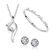 Authentic Austrian Crystal Jewellery Sets Wedding Engagement Jewellery Sets, Necklace/ Earing / Bracelet, silver