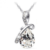 Silver Plated Austrian Crystal Water drop Necklace made With SWA Elements for Women Fashion Jewellery, silver