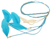 BONAMART ® Women Boho Double Layer Feather Braided Headband Hair Band Chain